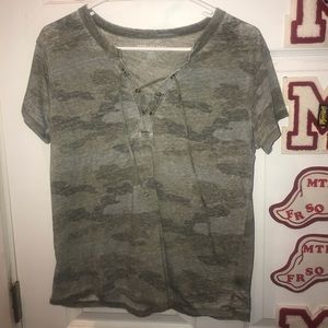 AE Camo Lace up Top
